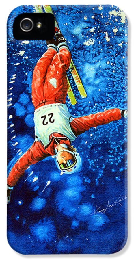 Skier IPhone 5 / 5s Case featuring the painting Skier Iphone Case by Hanne Lore Koehler