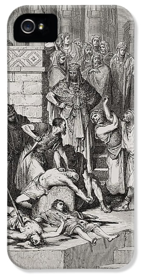 Killing IPhone 5 / 5s Case featuring the painting Slaughter Of The Sons Of Zedekiah Before Their Father by Gustave Dore