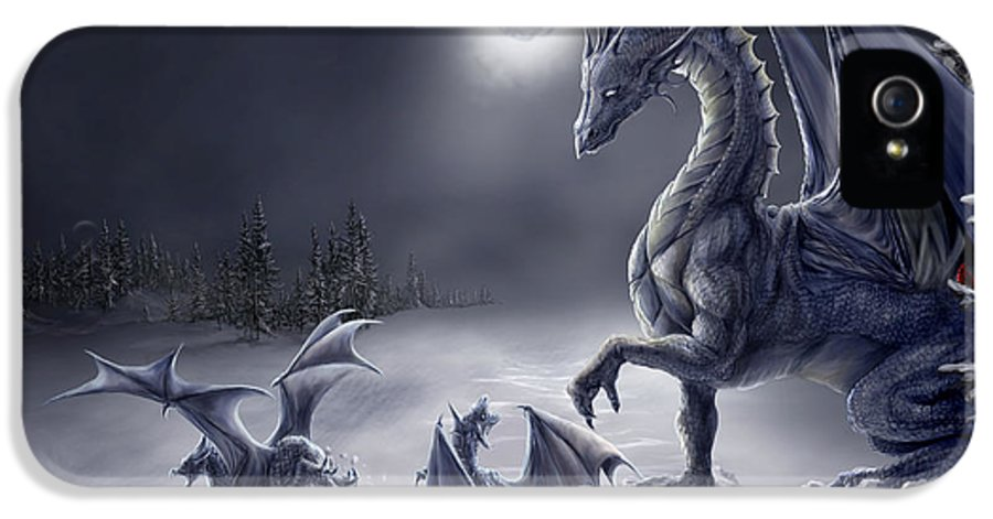 Dragon IPhone 5 / 5s Case featuring the digital art Snow Day by Rob Carlos