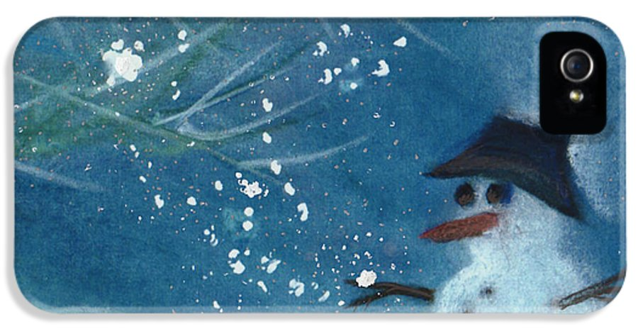 Christmas IPhone 5 / 5s Case featuring the painting Snowman By Jrr by First Star Art