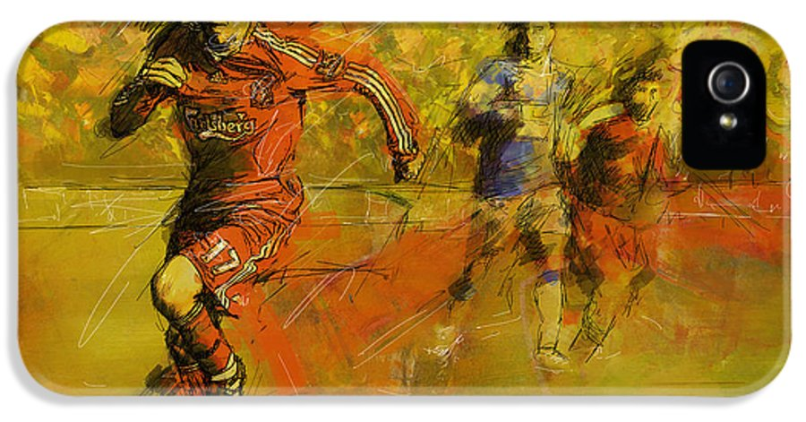 Sports IPhone 5 / 5s Case featuring the painting Soccer by Corporate Art Task Force