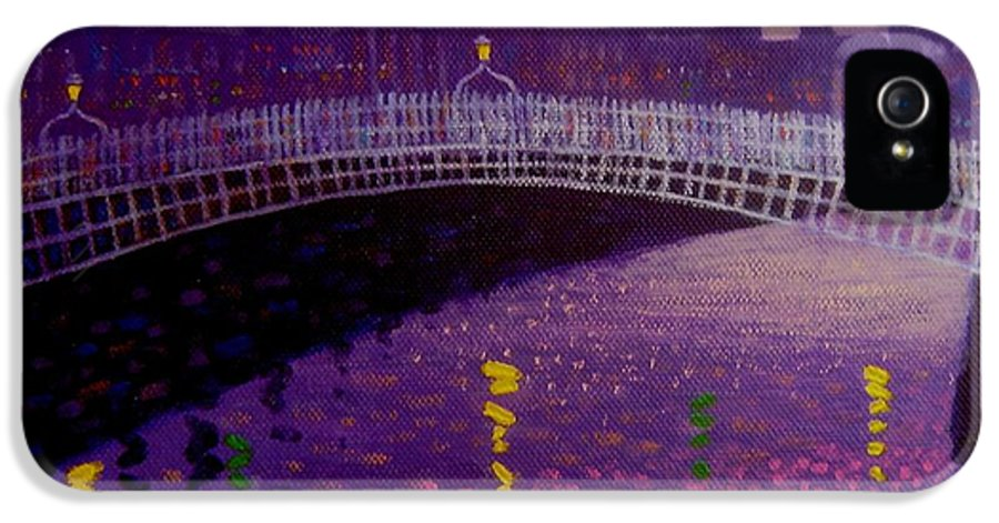 City Scape IPhone 5 / 5s Case featuring the painting Spring Evening Ha Penny Bridge Dublin by John Nolan