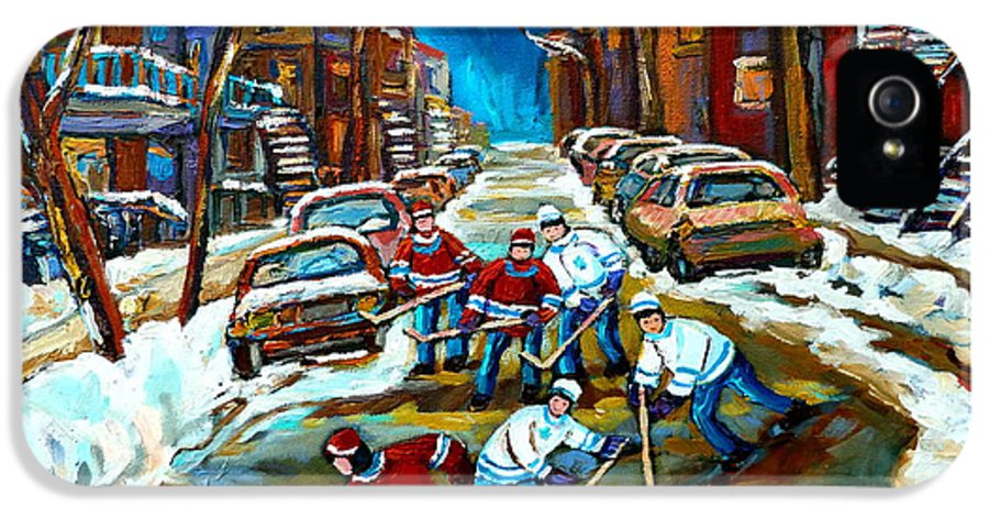 Montreal IPhone 5 / 5s Case featuring the painting St Urbain Street Boys Playing Hockey by Carole Spandau