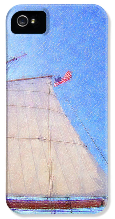 Ship IPhone 5 / 5s Case featuring the photograph Star Of India. Flag And Sail by Ben and Raisa Gertsberg