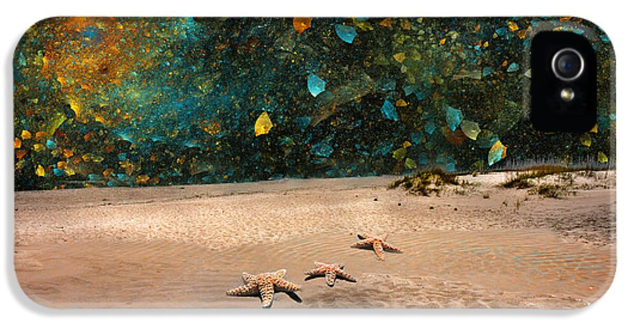 Starfish IPhone 5 / 5s Case featuring the digital art Starry Beach Night by Betsy Knapp