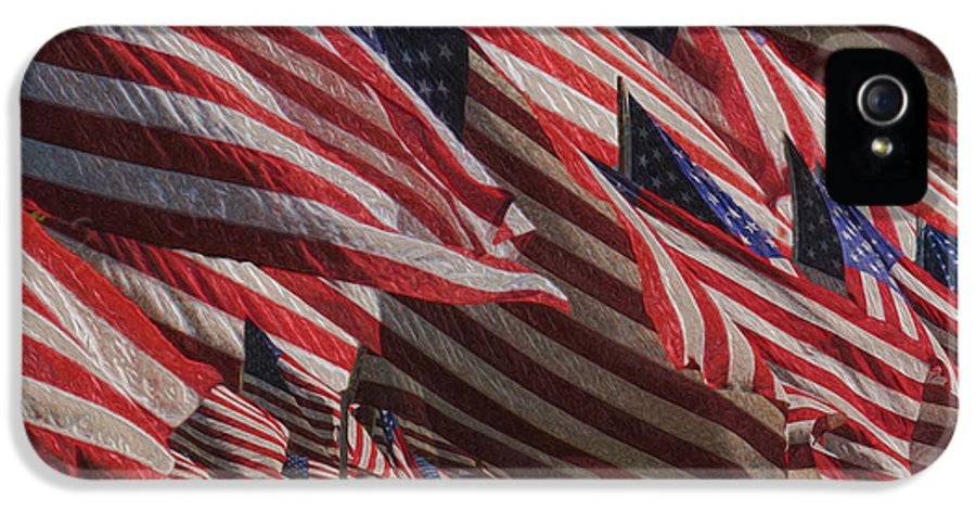 National Flag United States Of America IPhone 5 / 5s Case featuring the painting Stars And Stripes - Remembering by Jack Zulli