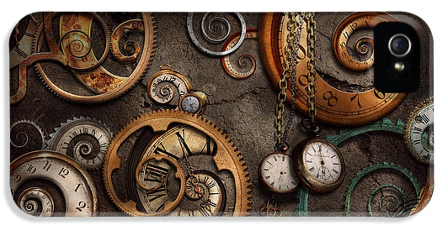 Steampunk IPhone 5 / 5s Case featuring the photograph Steampunk - Abstract - Time Is Complicated by Mike Savad