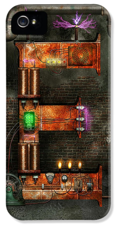 Self IPhone 5 / 5s Case featuring the digital art Steampunk - Alphabet - E Is For Electricity by Mike Savad