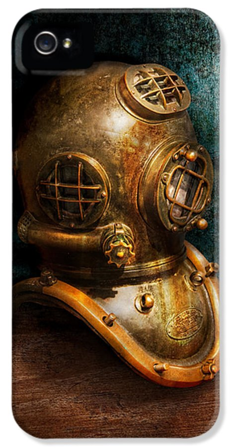 Hdr IPhone 5 / 5s Case featuring the photograph Steampunk - Diving - The Diving Helmet by Mike Savad