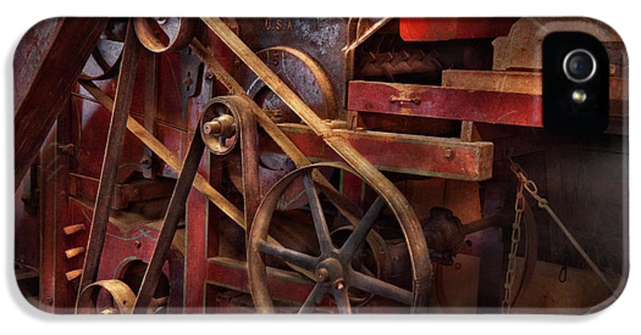 Steampunk IPhone 5 / 5s Case featuring the photograph Steampunk - Gear - Belts And Wheels by Mike Savad