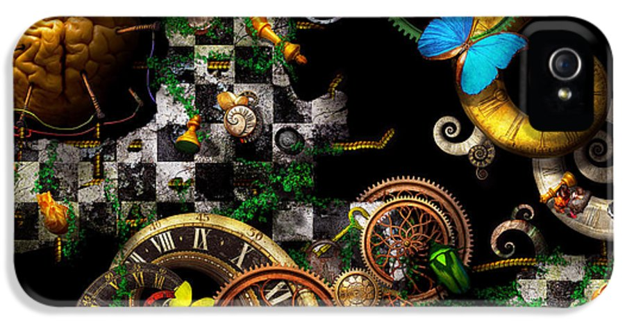 Self IPhone 5 / 5s Case featuring the digital art Steampunk - Surreal - Mind Games by Mike Savad