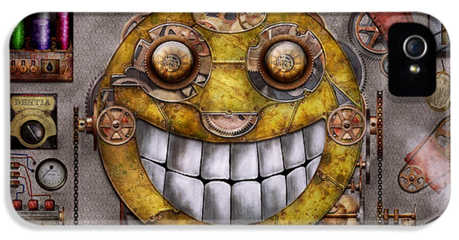 Steampunk IPhone 5 / 5s Case featuring the digital art Steampunk - The Joy Of Technology by Mike Savad
