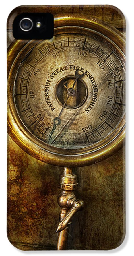 Hdr IPhone 5 / 5s Case featuring the photograph Steampunk - The Pressure Gauge by Mike Savad