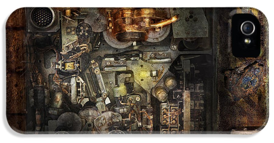 Hdr IPhone 5 / 5s Case featuring the photograph Steampunk - The Turret Computer by Mike Savad
