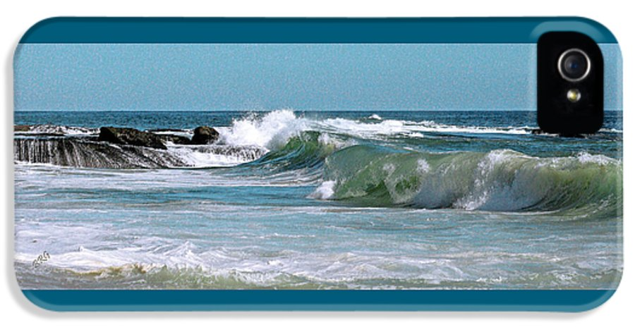 Blue IPhone 5 / 5s Case featuring the photograph Stormy Lagune - Blue Seascape by Ben and Raisa Gertsberg