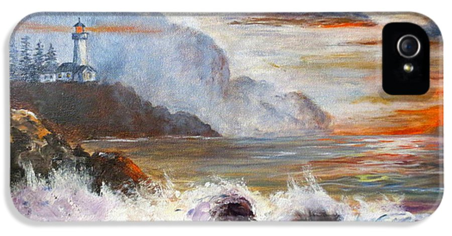 Ocean Painting IPhone 5 / 5s Case featuring the painting Stormy Sunset by Lee Piper
