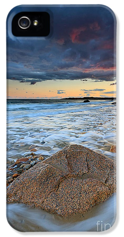 Storm Clouds IPhone 5 / 5s Case featuring the photograph Stormy Sunset Seascape by Katherine Gendreau