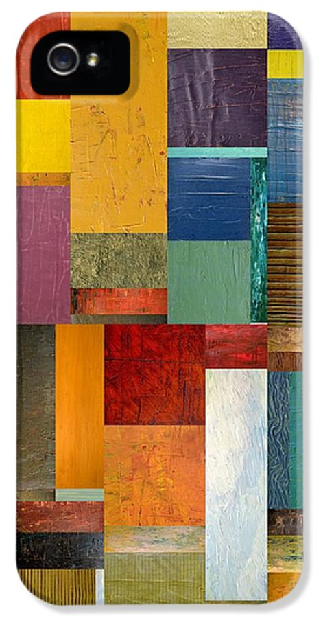 Textural IPhone 5 / 5s Case featuring the painting Strips And Pieces Ll by Michelle Calkins