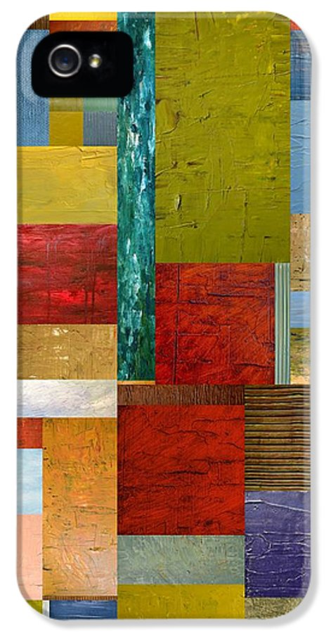 Textural IPhone 5 / 5s Case featuring the painting Strips And Pieces Lll by Michelle Calkins