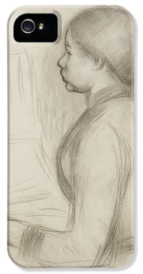Attire IPhone 5 / 5s Case featuring the drawing Study Of A Young Girl At The Piano by Pierre Auguste Renoir