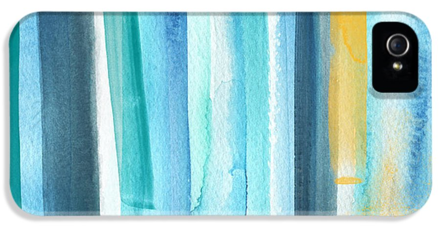 Water IPhone 5 / 5s Case featuring the painting Summer Surf- Abstract Painting by Linda Woods