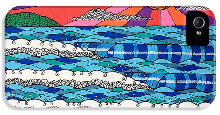 Waves IPhone 5 / 5s Case featuring the digital art Summer Vibes by Susan Claire