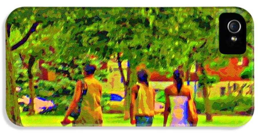 Montreal IPhone 5 / 5s Case featuring the painting Summertime Walk Through The Beautiful Tree Lined Park Montreal Street Scene Art By Carole Spandau by Carole Spandau
