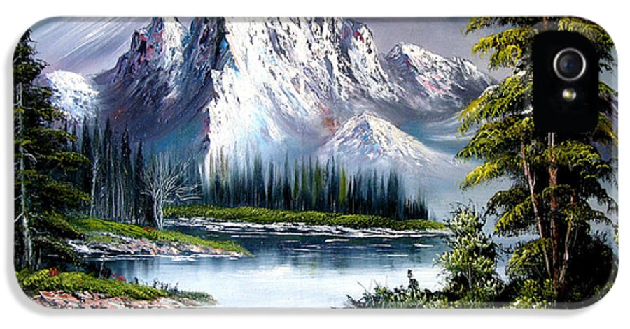 Wet On Wet Oil Painting ;happy Trees Print;bob Ross ;original Oil Painting Print;snow Print;nature Landscape Print;mountain Print;village Print;snow Print;sky Print;canvas Print;acrylic Print;greeting Card Print;framed Print;blue;white;brown;clay; Mud..... � IPhone 5 / 5s Case featuring the painting Sun After Rain by Shirwan Ahmed