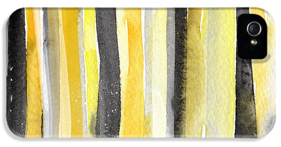 Abstract Yellow And Grey Painting IPhone 5 / 5s Case featuring the painting Sun And Shadows- Abstract Painting by Linda Woods