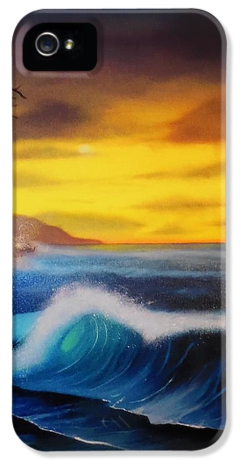 Bob Ross Reproduction IPhone 5 / 5s Case featuring the painting Sunset Wave by Charles Eagle