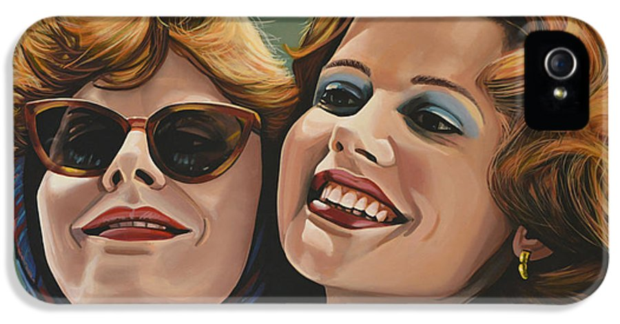 Susan Sarandon IPhone 5 / 5s Case featuring the painting Susan Sarandon And Geena Davies Alias Thelma And Louise by Paul Meijering