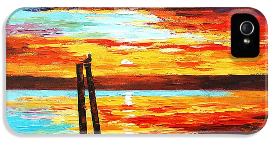 Sunset IPhone 5 / 5s Case featuring the painting Swansea Sunset by Graham Gercken