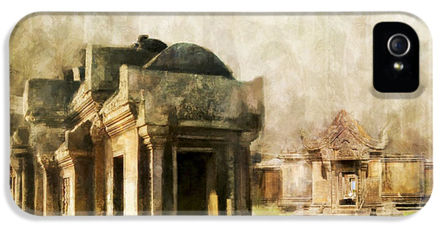 Combodia Art IPhone 5 / 5s Case featuring the painting Temple Of Preah Vihear by Catf