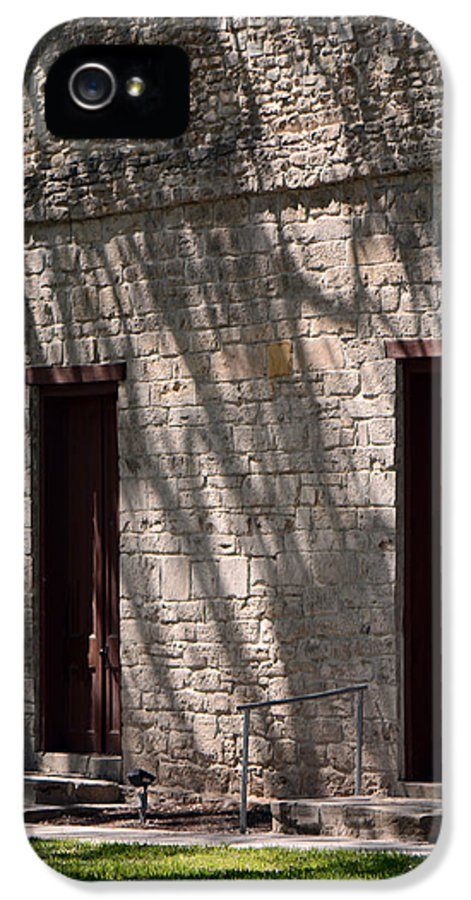 Historic Independence Baptist Church IPhone 5 / 5s Case featuring the photograph Texas Pioneer Church Doors by Connie Fox