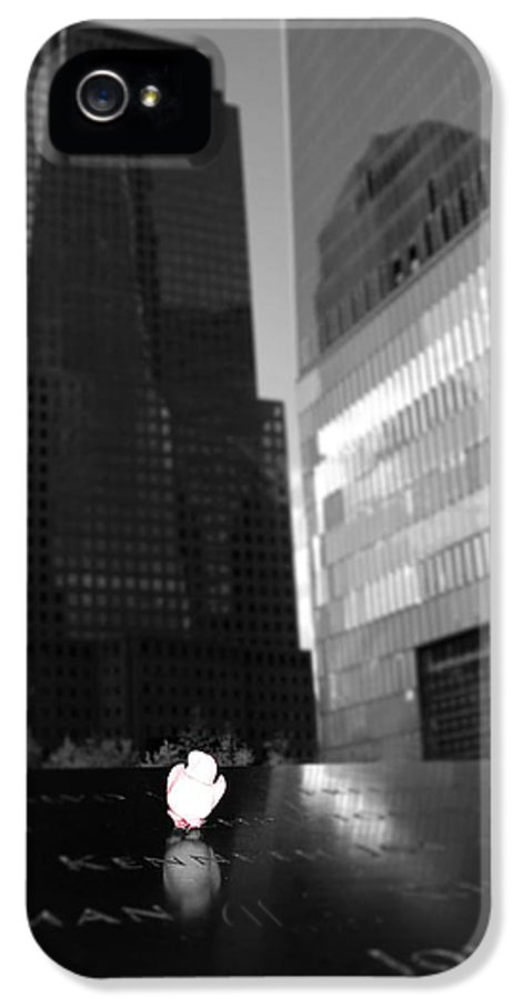 One World Trade Center Reflections IPhone 5 / 5s Case featuring the photograph The 911 Memorial In Black And White by Dan Sproul