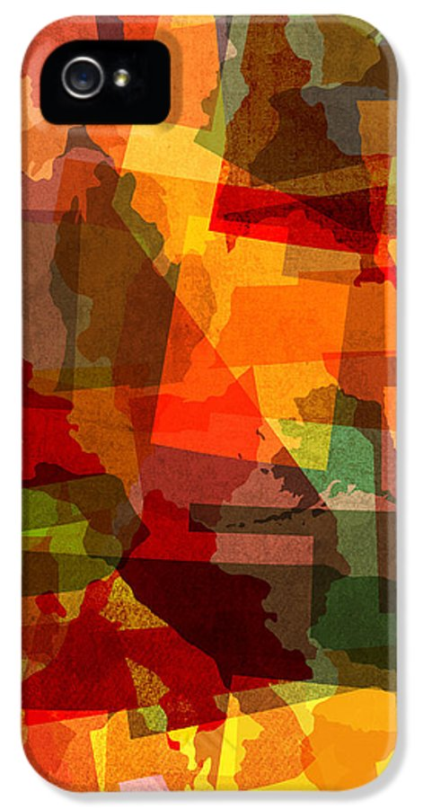 United States IPhone 5 / 5s Case featuring the mixed media The Abstract States Of America by Design Turnpike