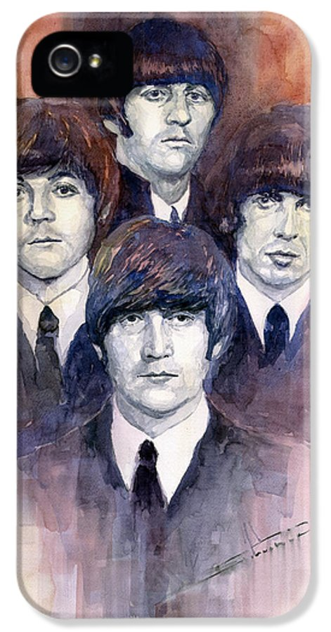 Watercolor IPhone 5 / 5s Case featuring the painting The Beatles 02 by Yuriy Shevchuk