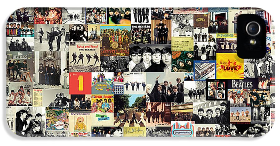 The Beatles IPhone 5 / 5s Case featuring the mixed media The Beatles Collage by Taylan Soyturk