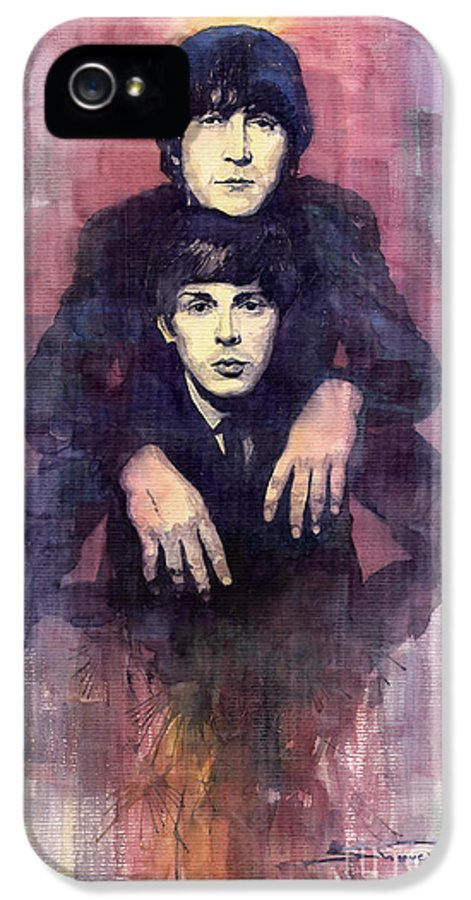Watercolour IPhone 5 / 5s Case featuring the painting The Beatles John Lennon And Paul Mccartney by Yuriy Shevchuk