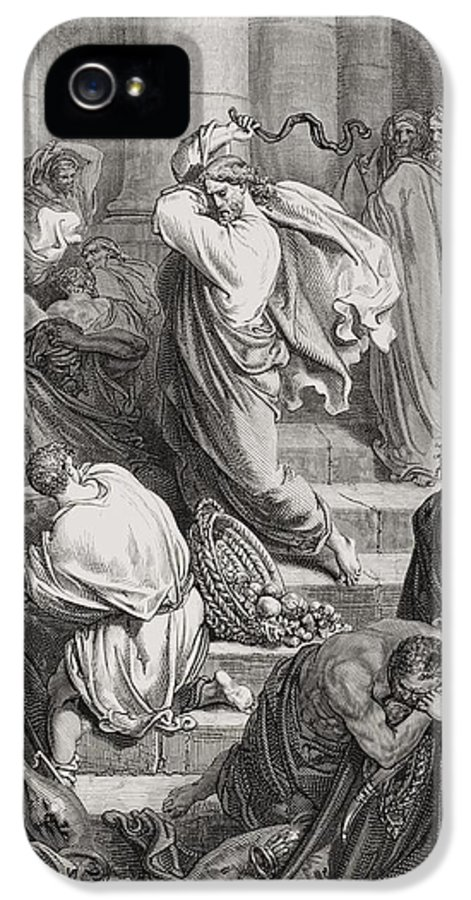 Jesus IPhone 5 / 5s Case featuring the painting The Buyers And Sellers Driven Out Of The Temple by Gustave Dore