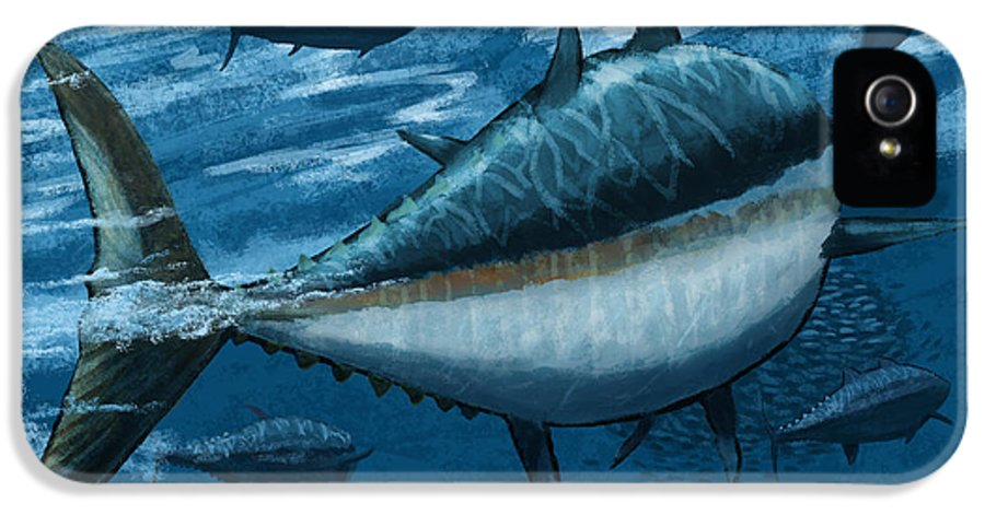Tuna IPhone 5 / 5s Case featuring the digital art The Chase by Kevin Putman