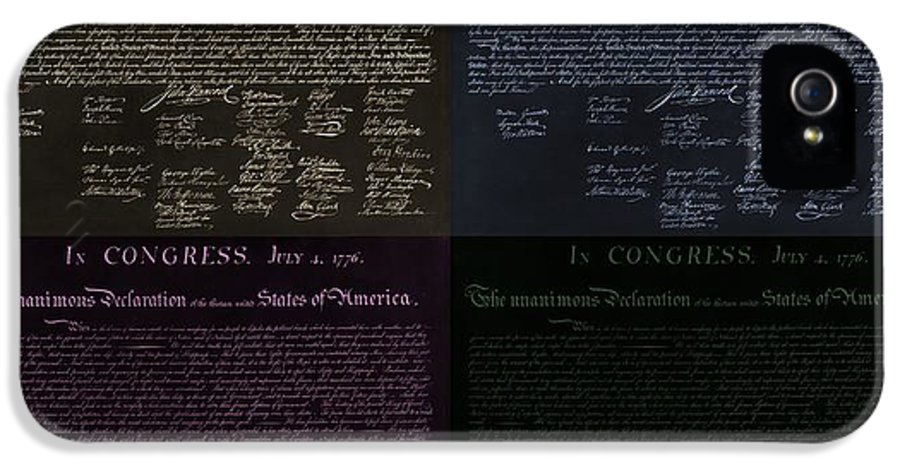 The Declaration Of Independence IPhone 5 / 5s Case featuring the photograph The Declaration Of Independence In Negative Colors by Rob Hans