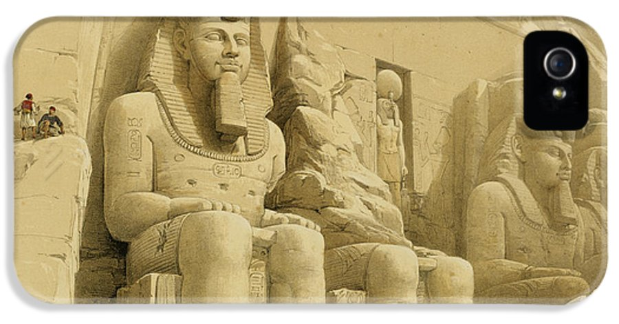 Facade IPhone 5 / 5s Case featuring the painting The Great Temple Of Abu Simbel by David Roberts