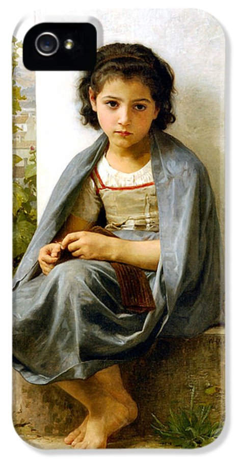 The Spinner IPhone 5 / 5s Case featuring the digital art The Little Knitter by William Bouguereau