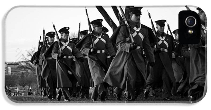 The March Begins Inauguration 2013 Military IPhone 5 / 5s Case featuring the photograph The March Begins Inauguration2013 by Benjamin Burgess