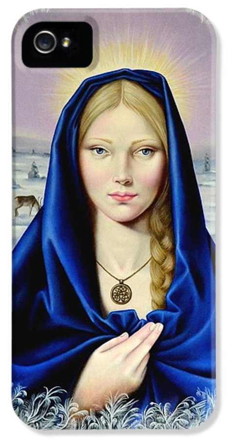 Madonna IPhone 5 / 5s Case featuring the painting The Nordic Madonna by Nathalie Chavieve