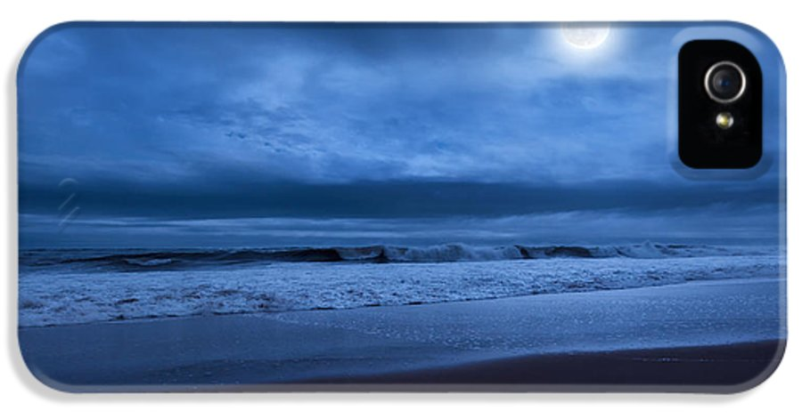 Blue IPhone 5 / 5s Case featuring the photograph The Ocean Moon by Bill Wakeley