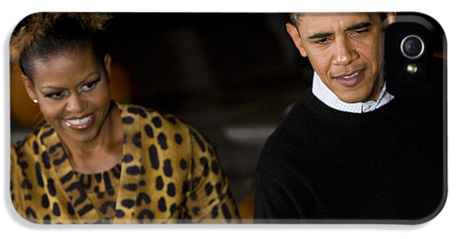 Barack Obama IPhone 5 / 5s Case featuring the photograph The President And First Lady by JP Tripp