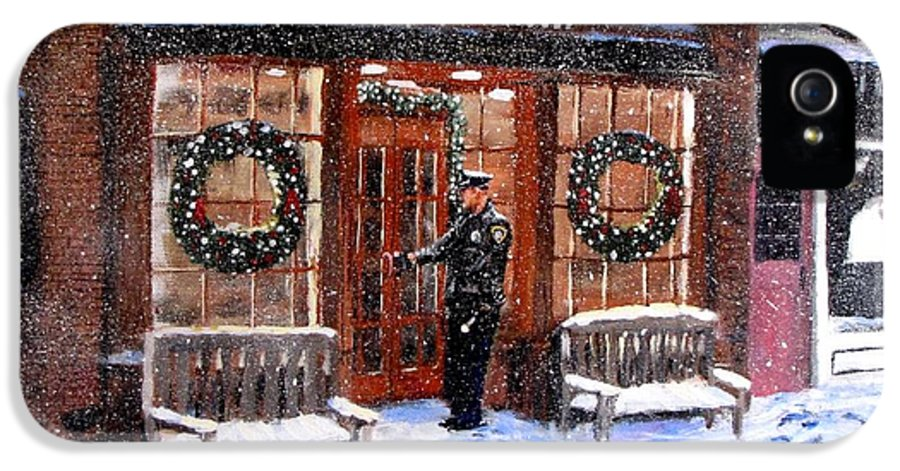 Police IPhone 5 / 5s Case featuring the painting The Shiver And Shake Watch On Christmas Eve by Jack Skinner