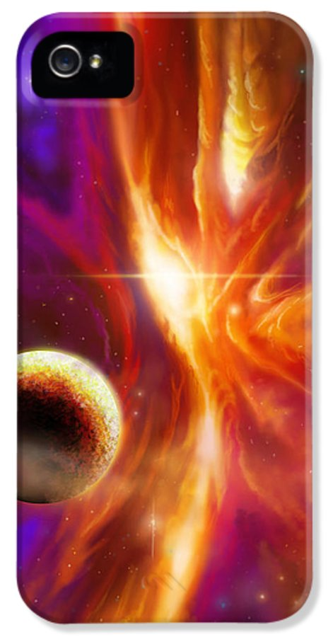 Jameshillgallery.com IPhone 5 / 5s Case featuring the painting The Spirit Realm Of The Saphire Nebula by James Christopher Hill